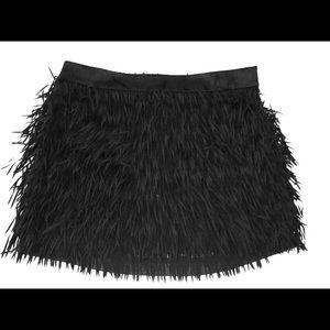Express frayed black mini skirt suede silk new 4